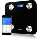 Zoluko Weegschaal Lichaamsanalyse met 12 lichaamsmetingen - Personenweegschaal - Digitale Weegschaal met App voor Android en iOS - Vetpercentage meten - BMI meten - Zwart